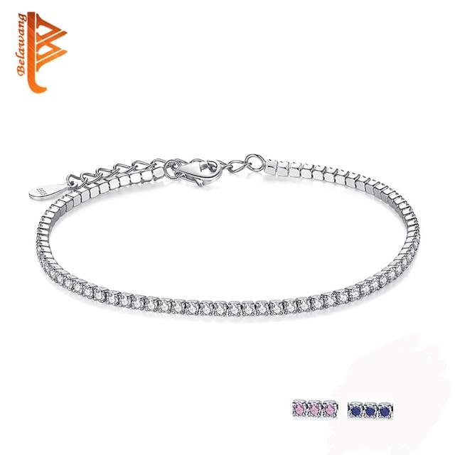 Bela Aaa Elegant Square Cz Tennis Charm Bracelets Bangles For Women 925 Sterling Silver Princess