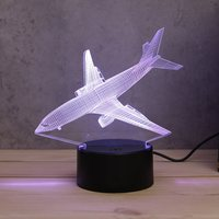 7 Color Aircraft Airplane Acrylic 3D LED Night Light Toys Lamp Air Plane Night Touch Table