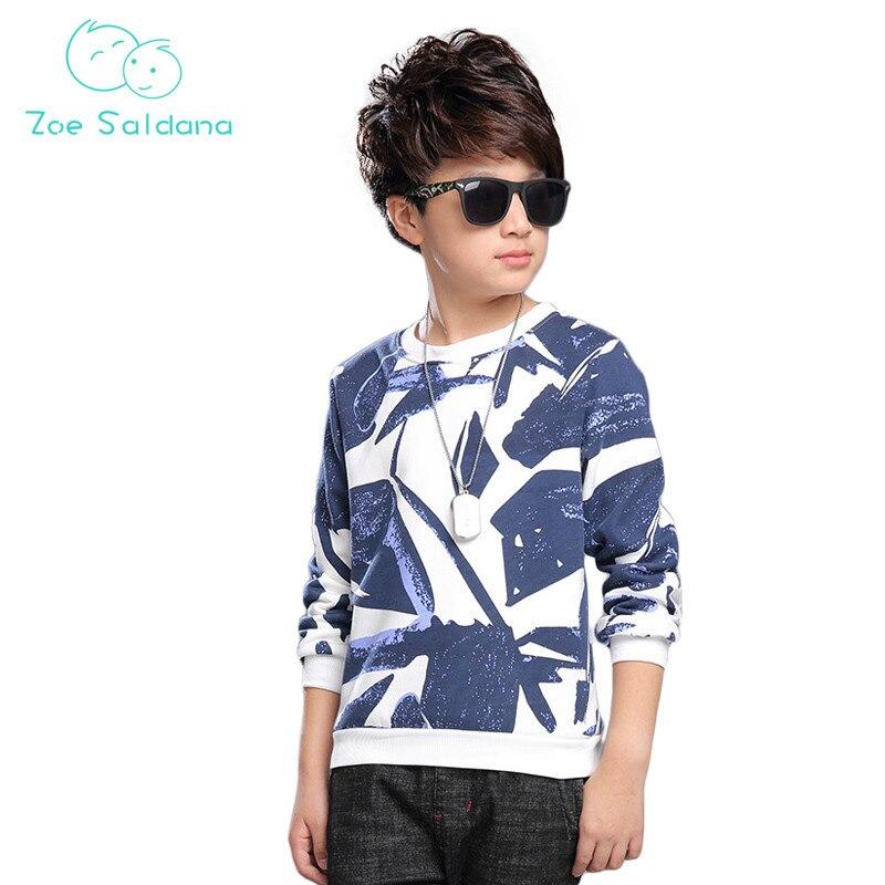 Zoe Saldana Boy's Sweatshirt 2017 Spring Winter New Teenager T-Shirts Long Sleeve New Baby Boys Clothes Printed Fleece Shirts