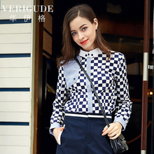 Veri Gude Women's Plaid Blouse Button-down Shirt Striped Front Cotton Tops