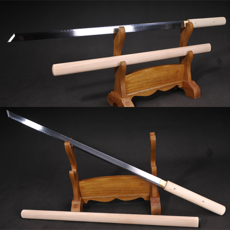 Ձեռագործ ճապոնական Samurai Katana 1095 Steel Clay Temper Real Hamon Full Tang Ronin Sword Straight Blade - Shirasaya Sharpness