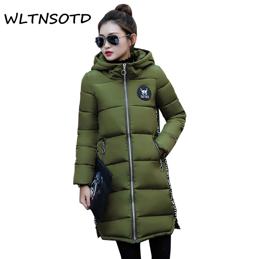 2017 new winter cotton coat women long thick Hooded printing pattern Slim jacket Female fashion warm Parkas 2017 new women winter cotton coat long slim hooded badge pattern warm jacket female fashion solid parkas