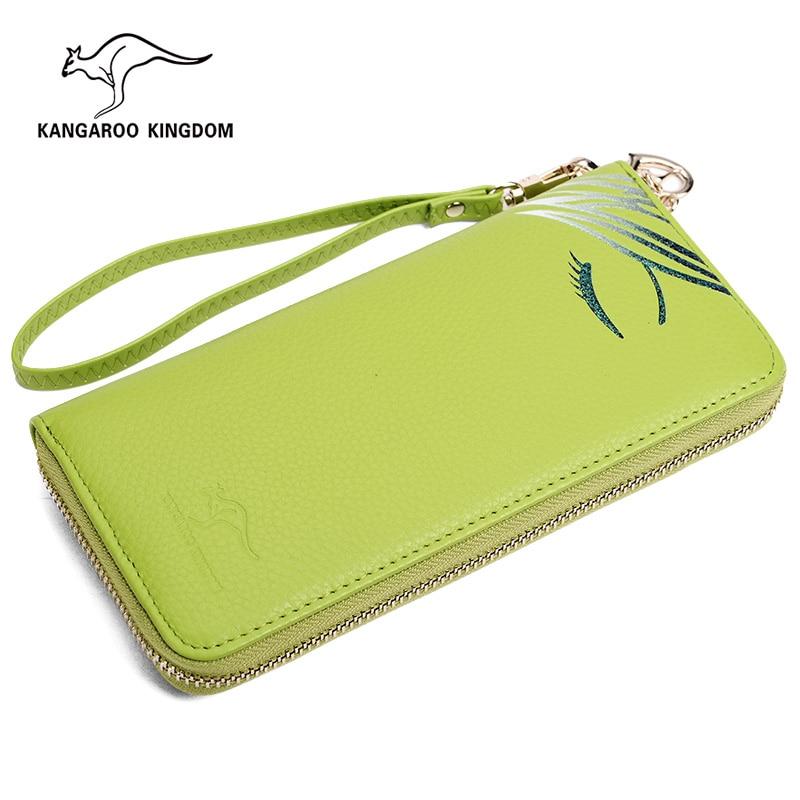KANGAROO KINGDOM Famous Brand Women Wallets Genuine Leather Long Zipper Clutch Purse Card Holder
