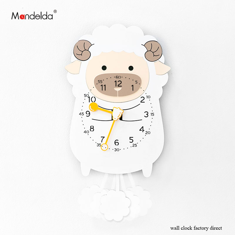 Wholesale Clock Wall Children Luxury European-style Wooden Creative Lovely Sheep Cartoon Clock On Wall For Gift