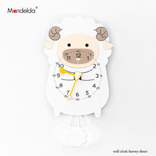 Wholesale Clock Wall Children Luxury European-style Wooden Creative Lovely Sheep Cartoon on for Gift
