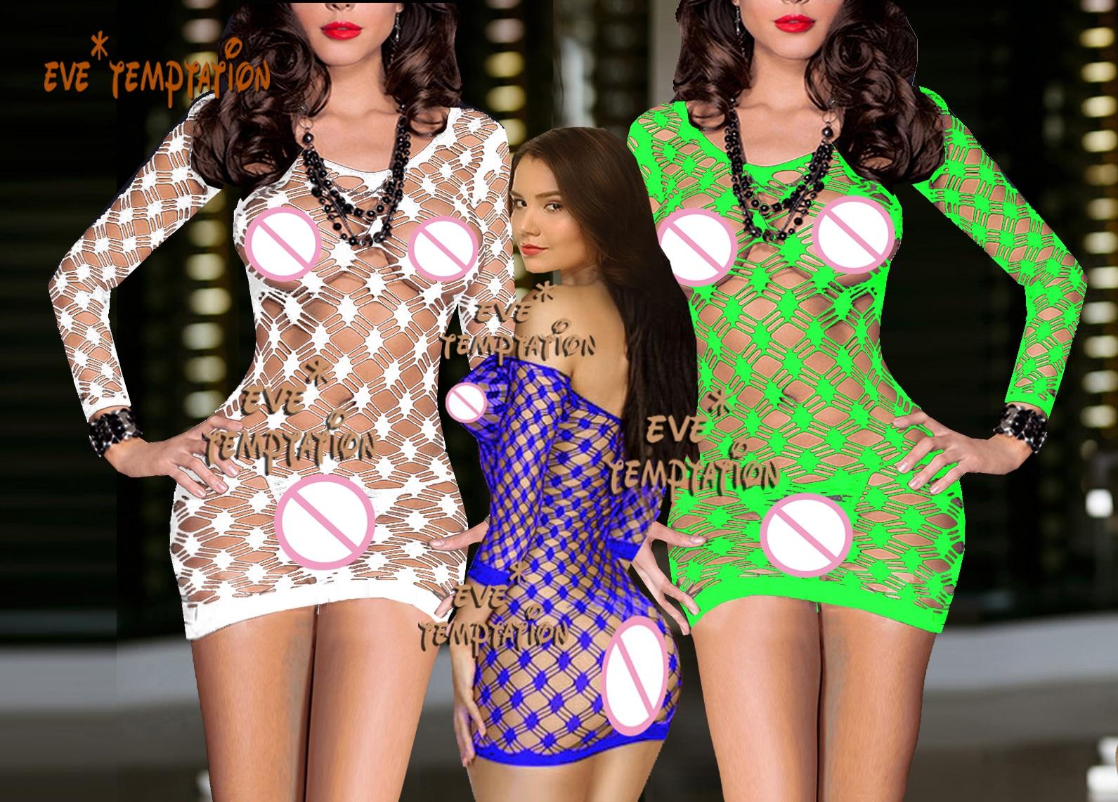 Sexy crochet Fish Net Lingerie Babydoll vestido ropa interior trajes de dormir trajes Chemises camisón manga larga 6208