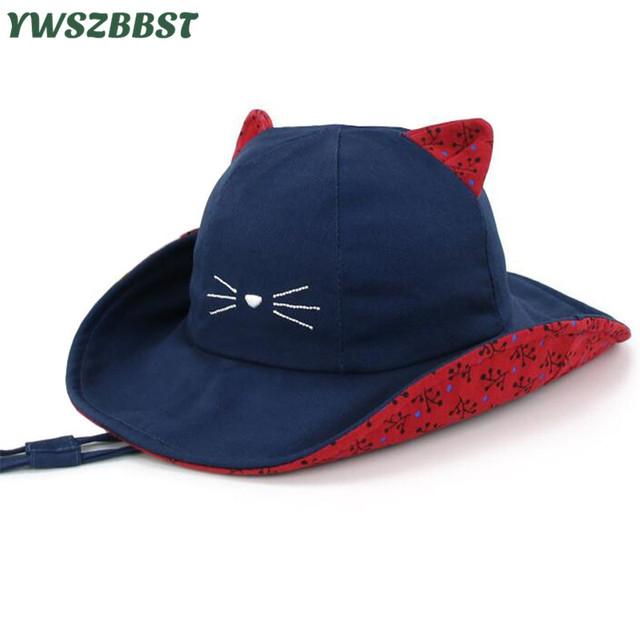 5379d256 Cute Cat Print Summer Children Kids Sun Hats Baby Boys Sun Hat Kids  Fisherman Cap Girls Sunscreen Beach Caps Baby Bucket Hat