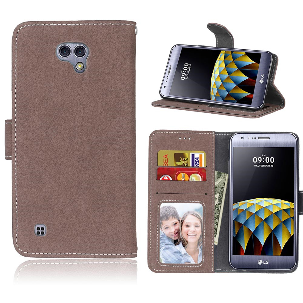 Scrub Case For LG X Cam Leather Wallet Flip Stand Hoesjes Frame Card Slot Cover Case For LG X Cam K580 K580DS Phone Case