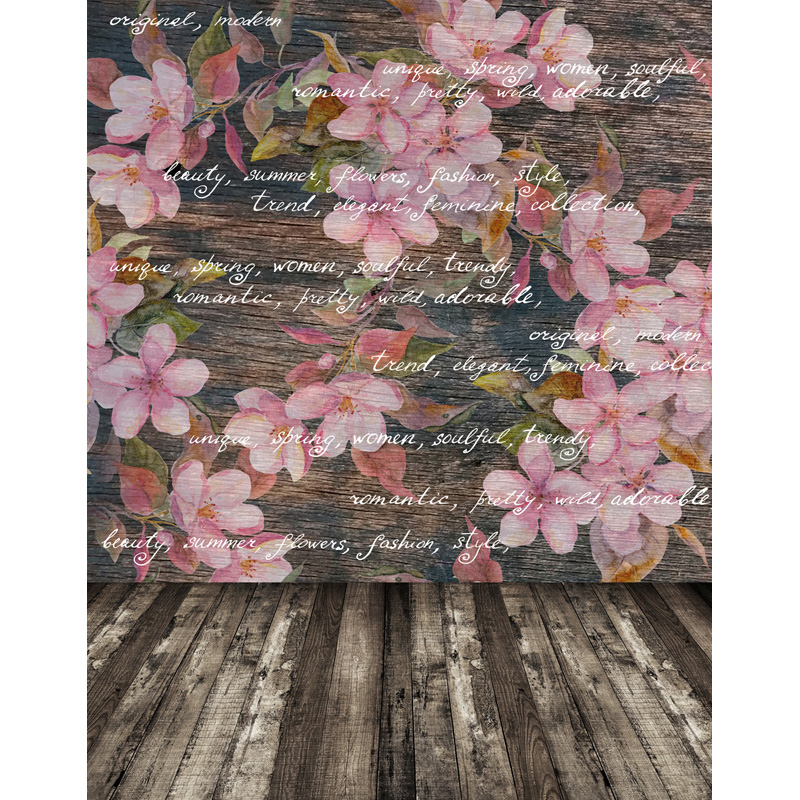 TR Retro Pink Flowers Pattern Wood Letter Wall Wooden Floor Custom Newborns Baby Photography Backgrounds Studio Backdrops Vinyl