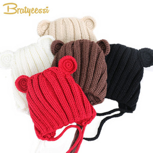 Knitted Winter Baby Hat with Ears Cartoon Lace-up Children Kids Baby Bonnet Cap for 1-3 Years 5 Colors(China)