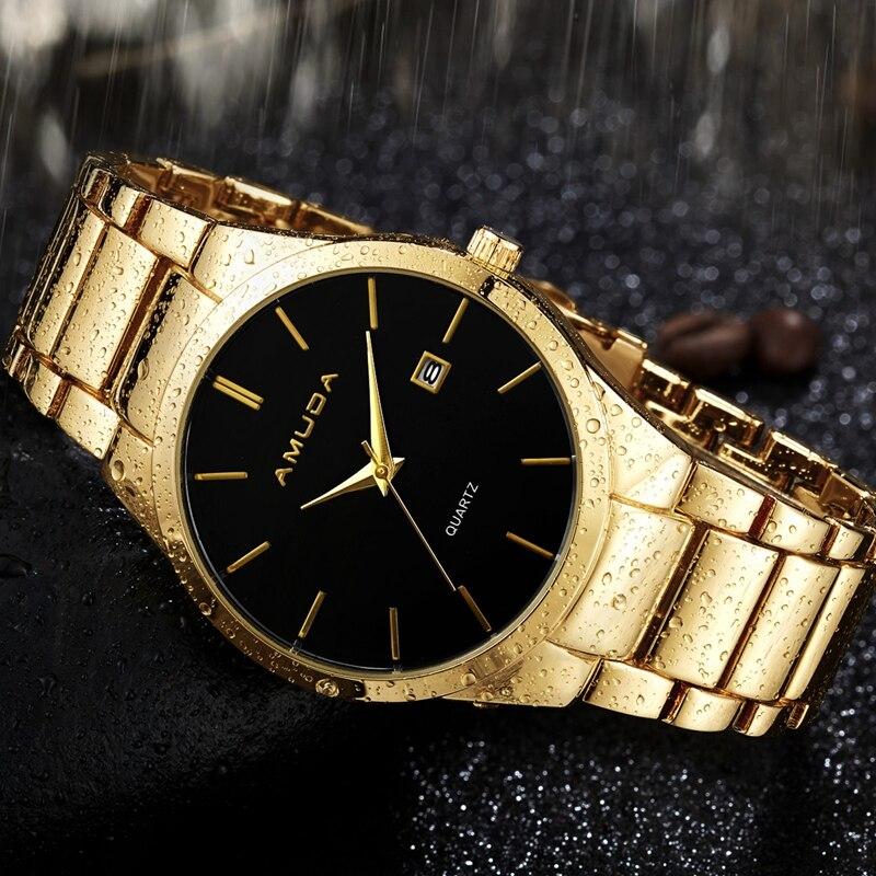 AMUDA Gold Men's Watches Male Clock Golden Steel Wrist Quartz Watch with Calendar Relogio Masculino amuda men sports watches fashion luxury golden quartz wristwatches stainless steel waterproof watch clock male relogio masculino