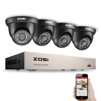 ZOSI 8CH 1080N TVI H 264 8CH DVR 4PCS 720P Outdoor Dome CCTV Video Home Security