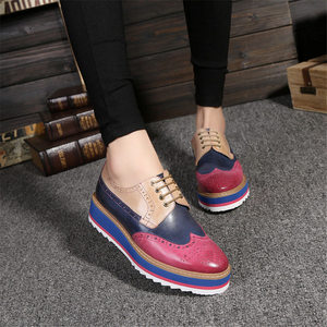 Image 1 - Genuine sheepskin leather brogue designer vintage yinzo flat shoes handmade flat platform red oxford shoes for women 2020 spring
