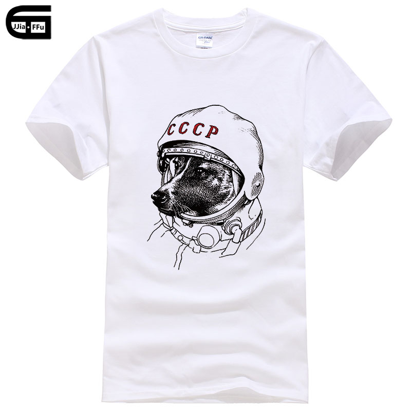 Dog Space Travel CCCP Short Sleeved   T     Shirt   Men Funny Camisetas 100% Cotton Men's   T  -  shirt   Fashion Tops Tees T402