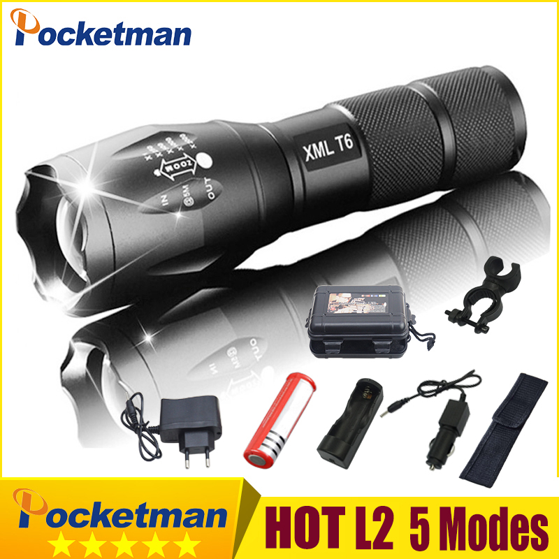 2019 HOT 50000LM XM-L V6 LED Tactical Flashlight  Aluminum Light Zoomable Flashlight Torch Lamp For 18650 Or 3*AAA Z75