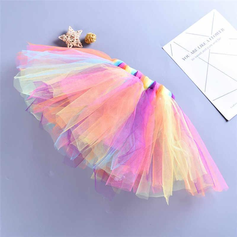 0-5Y niños niñas tutú falda princesa Arco Iris niños tul falda unicornio diadema Mini Pettiskirt bebé Niñas Ropa de baile A343