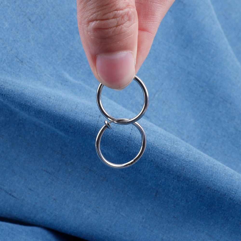 10/12/14/16/18/20MM pendientes redondos de acero inoxidable para hombre de acero titanio de rodio negro y oro accesorios para niñas