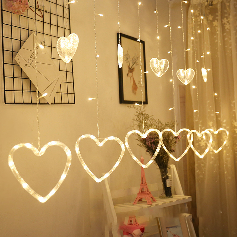 3M 138LED EU Plug Heart Shaped Curtain Light Fairy String Christmas Garland Lights For Christmas Party Wedding Decoration Lamp
