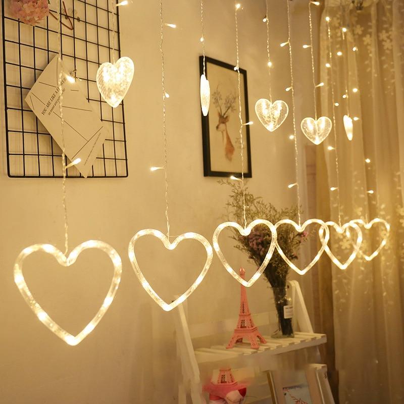 3M 138LED EU Plug Heart shaped curtain light fairy string Christmas garland lights for Christmas party wedding decoration lamp