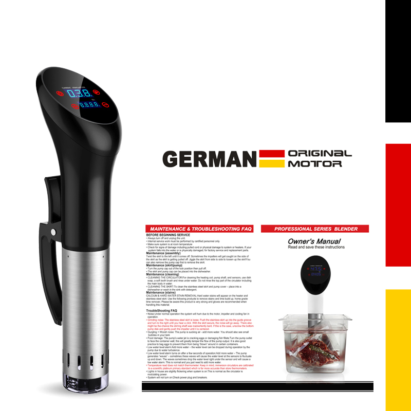 IPX7 Waterproof vacuum cook Food cooking machine German original motor technology 1400 Watts sous vide cooker factory price