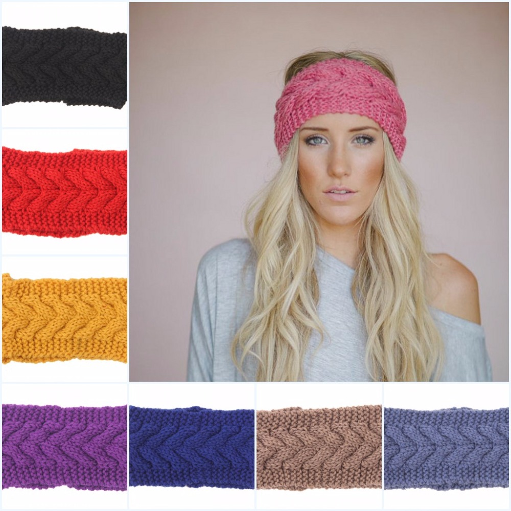 384576c7bac Fashion Winter Warm Twist Crochet Yarn Head Wrap Ear Warmer women turban Women  Girl Knitted Headband