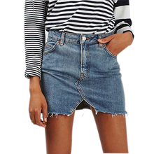 Women High Waist Mini Denim Skirts Black Blue Casual Jean Skirt Summer Multi-Pockets Button Split A-Line Bodycon Saia Midi