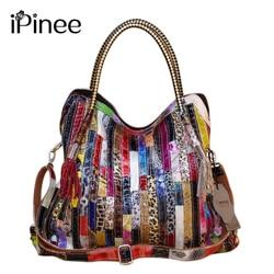 Ipinee sacos de couro da vaca real para as mulheres marcas paillette couro genuíno bolsas cobra mensageiro saco luxo tote