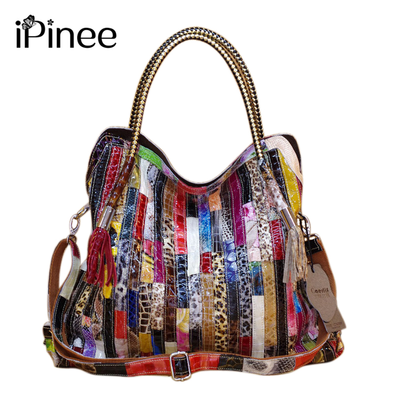 iPinee Real Cow Leather Bags For Women Brands Cowhide Paillette Genuine Leather Handbags Snake Messenger Bag Luxury Tote