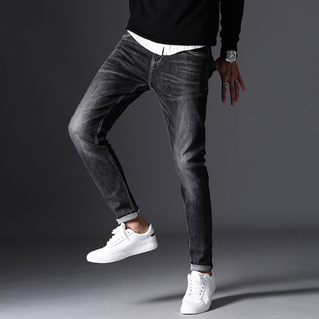 autumn winter high quality men cool jeans dark grey vintage faded