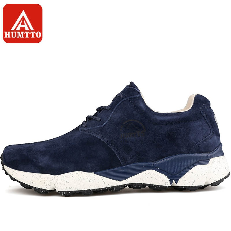HUMTTO Running Shoes Men Genuine Leather Outdoor Lace-up Low Cushioning Light Sports Shoes Breathable Sneakers peak sport men outdoor bas basketball shoes medium cut breathable comfortable revolve tech sneakers athletic training boots