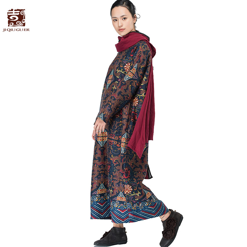 Jiqiuguer Women Autumn Floral Print Vintage Dresses O-neck Full sleeve  flowers Loose Casual Pockets Lady  Plus Robe G163Y048