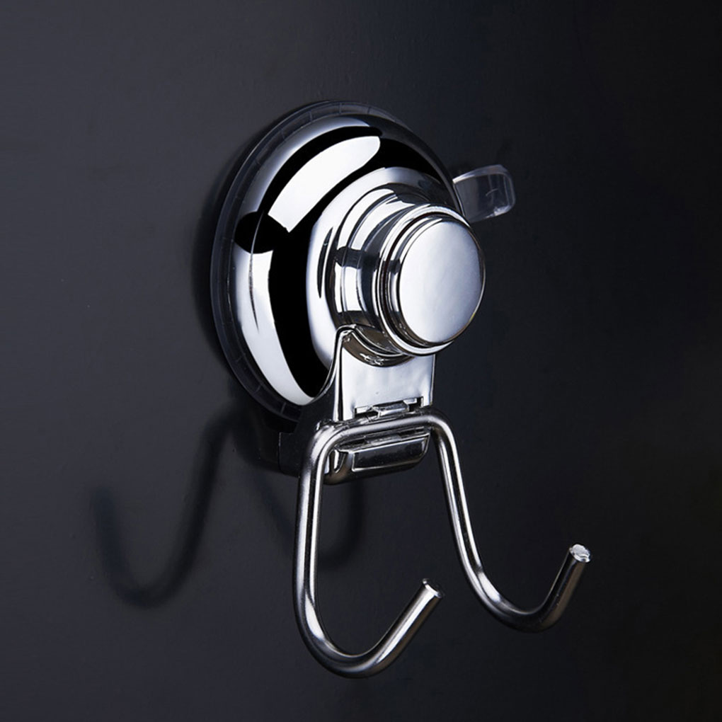 2 Pcs New Stainless Steel Suction Cup Vacuum Double Hook No Drilling Non mark Bathroom Kitchen Shower|Hooks & Rails| |  - title=