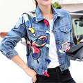 2016 New Fashion Butterfly Embroidery Denim Jacket For Women Blue Spring and Autumn Thin Casual Jacket and Coat 1692
