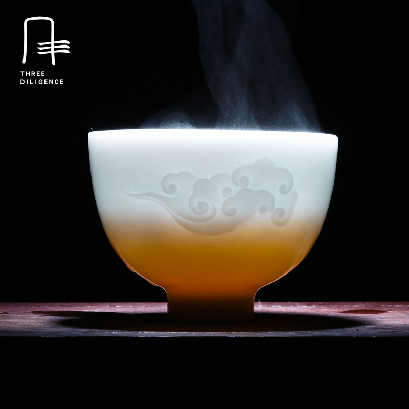 Ceramic Tea Cup Handmade teacup Kung Fu Tea Set Creative Pu-erh Jingdezhen transparent p ...