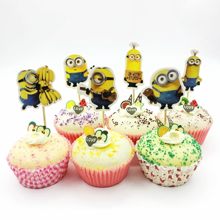 48pcs/lot Cartoon Minions Dad child Big Single Eye Cupcake Toppers Pick  Banana Music kids Birthday Party wedding Cake Decoration