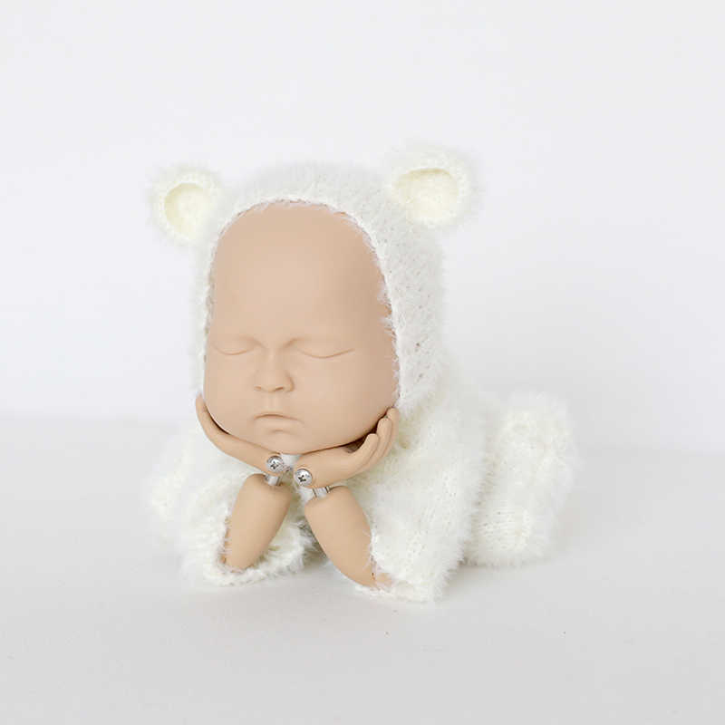 bcf78710f ... Newborn Fuzzy Teddy bear Bonnet Suit Knit Baby Girl Photography Romper  Hat Newborn Bodysuit Onesie Soft ...
