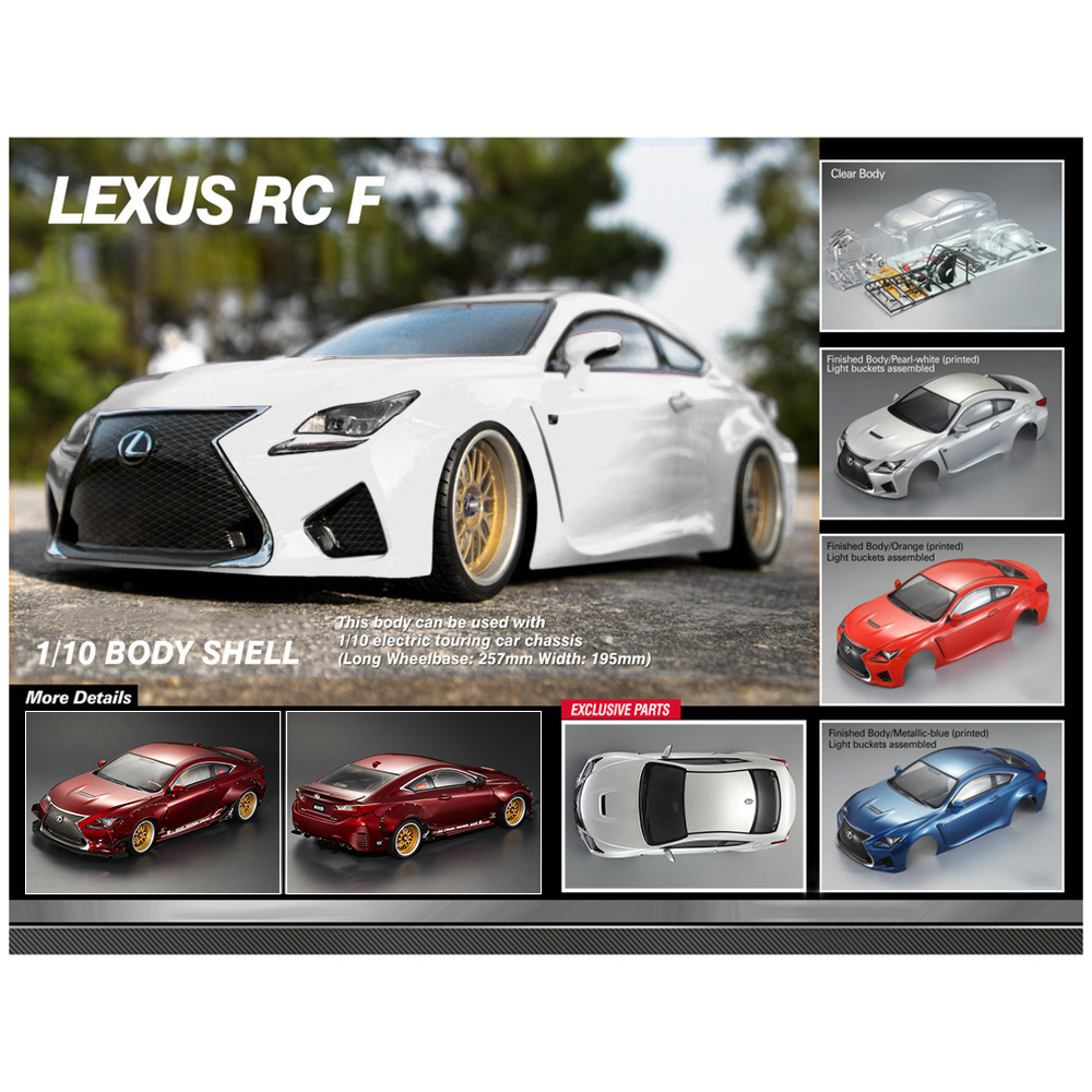48648 RC Car 257mm for LEXUS RC F Finished Body Shell Frame 1 10 Electric Touring