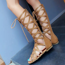Summer Women Ladies Fashion Casual Flats Knee High Boots Roma Shoes Sandals(China)