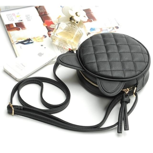 Good Quality Leather Mini Women Messenger Bag Circle Crossbody Bags Cat Ear Shoulder Bag New Style Women Handbag Round Purses