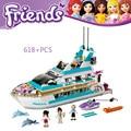 Dolphin Crucero Building Blocks Set Compatible con legoe Amigos 618 Unids 3 Ladrillos de Juguete Figuras Brinquedos Juguetes para Niñas