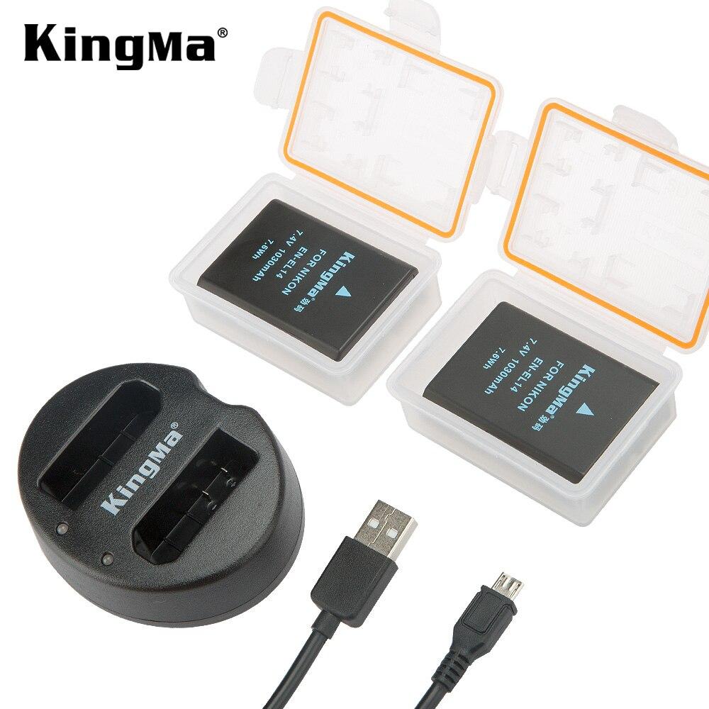 KingMa EN-EL14A EN-EL14 ENEL14 Batterie + Double Chargeur USB pour Nikon D5200 D3100 D3200 D5100 P7000 P7100 MH-24 D3300 D3400 D3500
