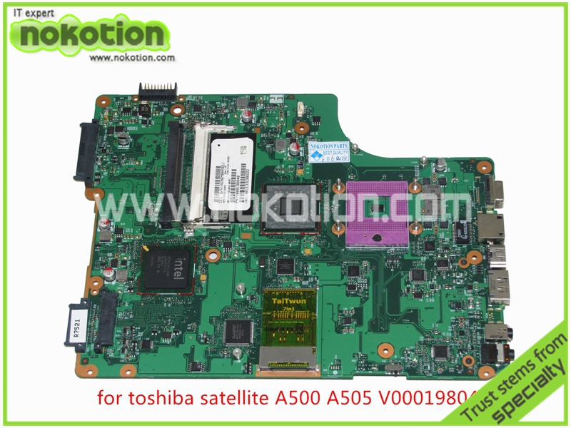 NOKOTION V000198040 Laptop Motherboard For toshiba satellite A500 A505 intel GM45 DDR2 Mainboard full tested nokotion for toshiba satellite a100 a105 motherboard intel 945gm ddr2 without graphics slot sps v000068770 v000069110
