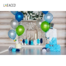 Laeacco Baby 1st Birthday Party Boy Balloons Fireplace Candle Photo Background Customized Photographic Backdrop For Studio
