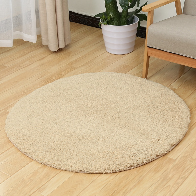 Solid Color Long Fur Soft Carpet Rugs Japanese Thick Brown White Pink Round Tapete Floor Mat Living Room Bedroom Circle Yoga Mat