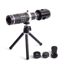 Buy online Universal Monocular Telephoto Lens 18X Zoom Telescope Wide-Angle Macro Fish Eye Lens Tripod Clip for Mobile Phone Camera Lens