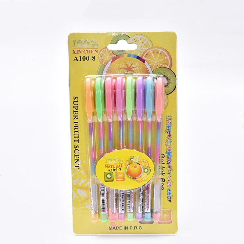 0 8mm Rainbow Pen set Creative Glitter Flash pen Rainbow multicolor refills highlighter Gel Pens for Drawing Graffiti Pen School in Highlighters from Office School Supplies
