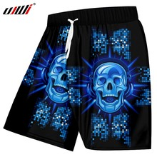 UJWI New Funny Blue Glitter Beach Shorts 3D Printed Man Hip Hop DJ Skulls  Best Selling Mens Shorts Wholesale Tracksuit 41604b75ef54