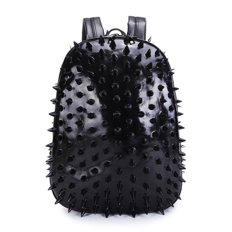 3D ハリネズミ男性パンク · ロックのバックパックファッションラップトップバッグクールメンズバッグ 2017 リベット革ショルダーバッグ  グループ上の スーツケース & バッグ からの バックパック の中 1