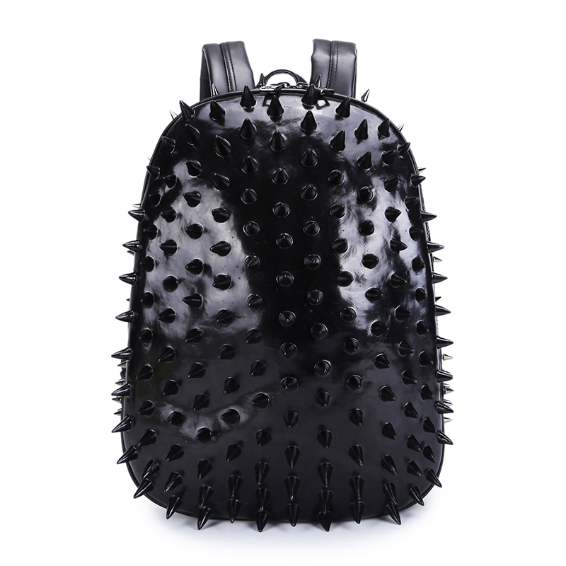 3D Hedgehog Men Punk Rock Backpack Fashion Laptop Bags Cool Mens School Bag Rivet Leather Shoulder Bags