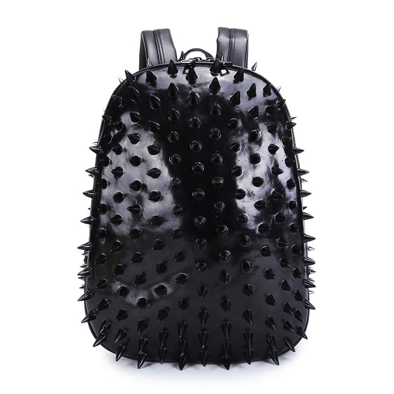 3D Hedgehog Men Punk Rock Backpack Fashion Laptop Bags Cool Mens School Bag Rivet Leather Shoulder Bags